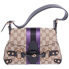 Gucci Vintage GG Canvas Horsebit Shoulder Bag - brown/black/purple
