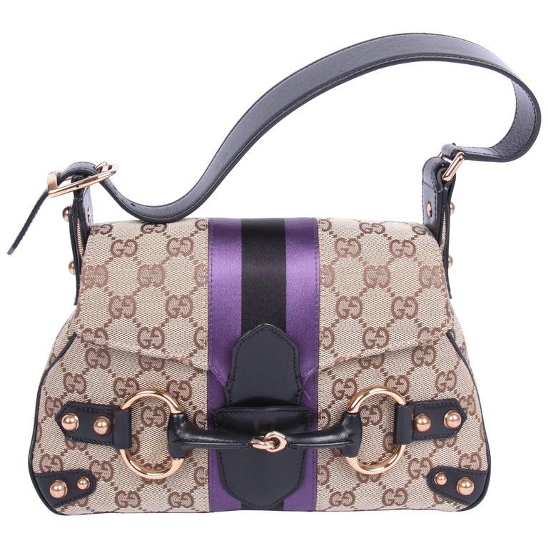 29f22d12a4a Gucci Vintage GG Canvas Horsebit Shoulder Bag - brown/black/purple For Sale