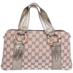 Gucci GG Canvas and Metal Bamboo Handbag Vintage - brown/gold