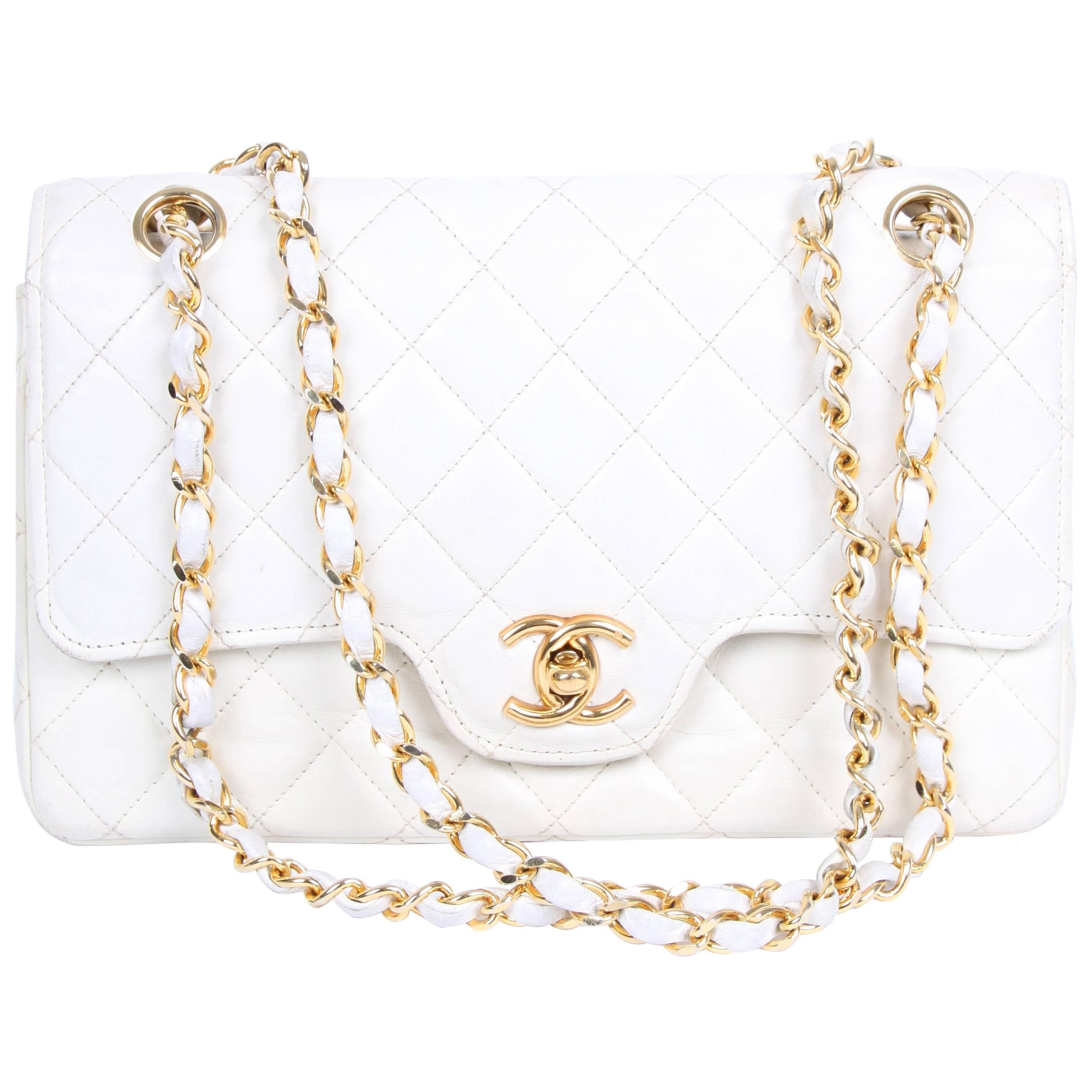 Chanel Vintage Double Flap Bag - ivory white at 1stdibs c3b60f9647598