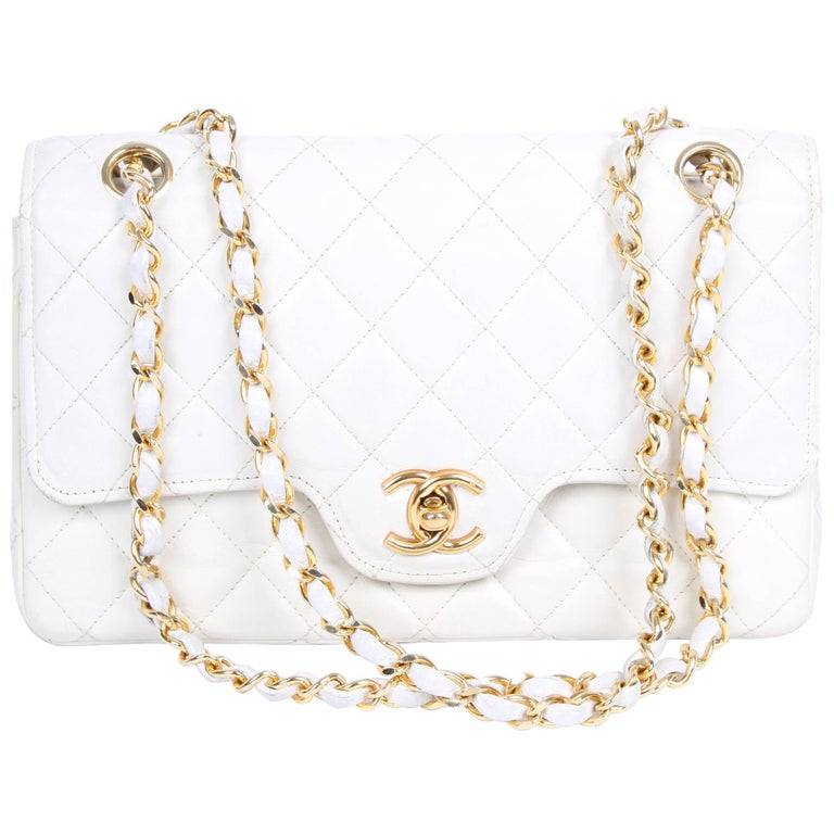 Chanel Vintage Double Flap Bag - ivory white