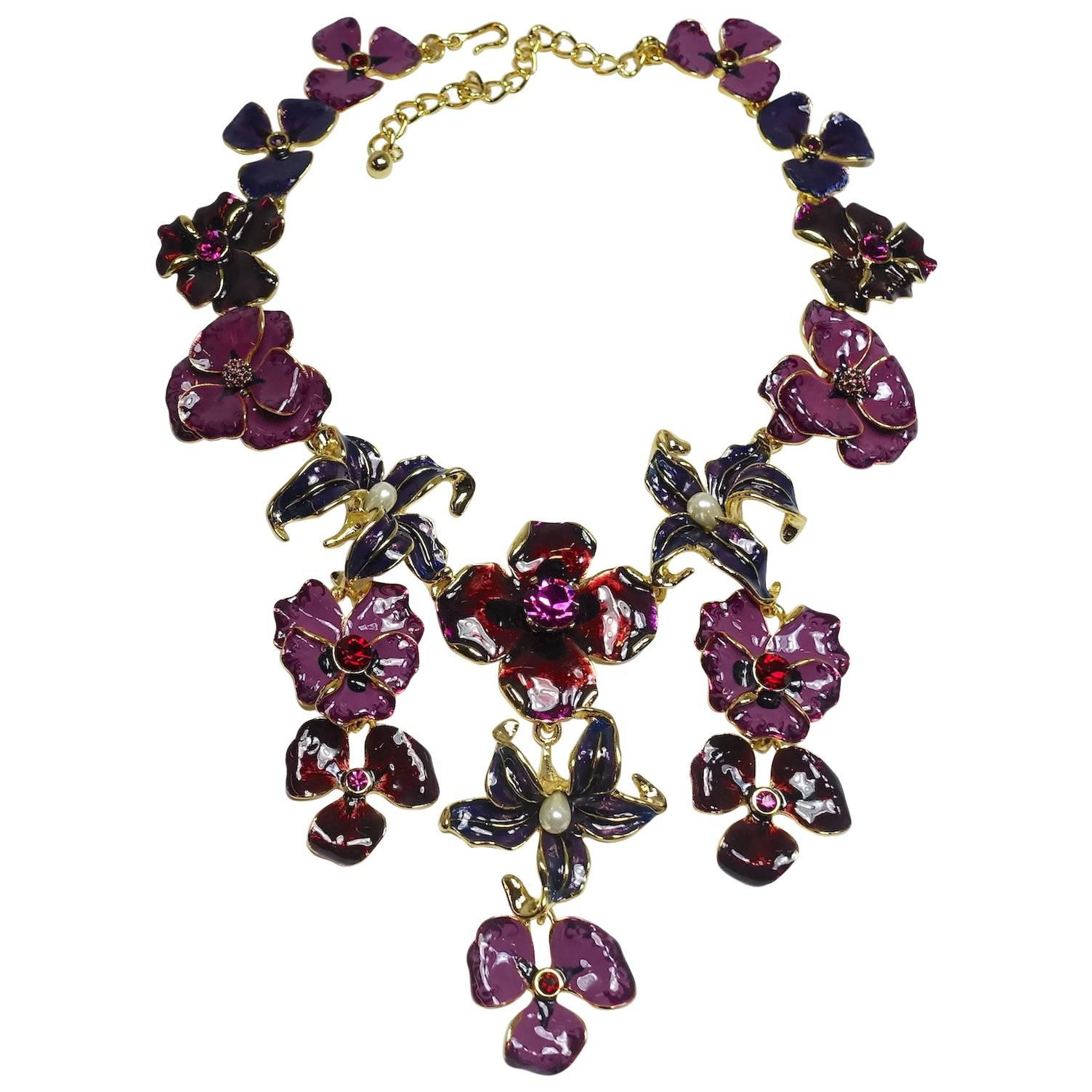 Kenneth Jay Lane Multi Topaz Bib Necklace Tortoise MPPXjC