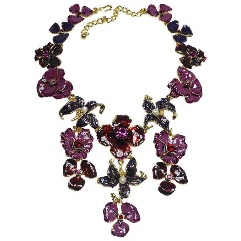 Kenneth Jay Lane KJL Multi-Color Floral Bib Necklace