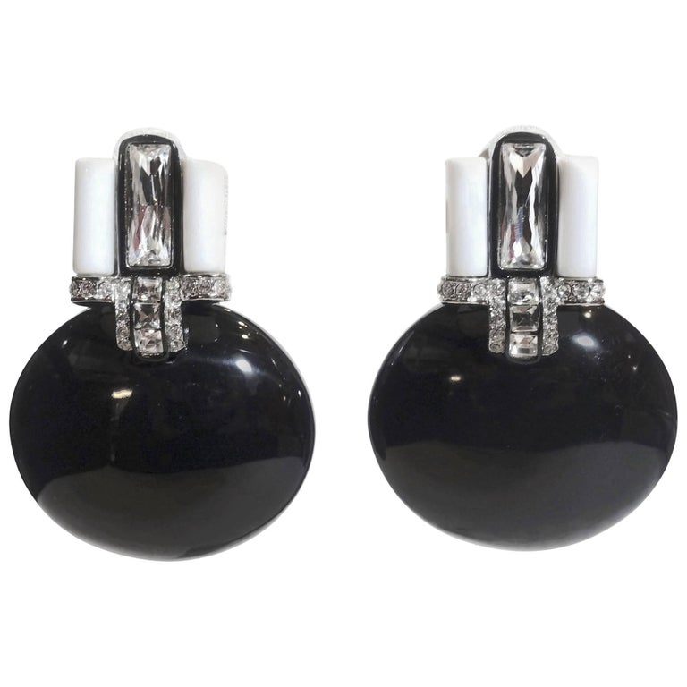 Signed Kenneth Jay Lane KJL Faux Onyx and Crystal Drop Earrings