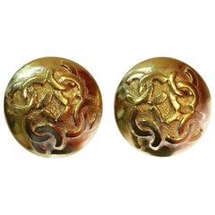 Vintage Chanel Round Double Cs Clip Earrings