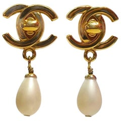 Vintage Chanel Double Cs Dangling Faux Pearl Earrings
