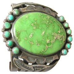 Vintage Navajo Sterling Green Turquoise Cuff