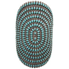 Vintage Sterling Zuni Turquoise Needpoint Cuff by P.V. by Joe