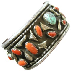 Sterling Zuni Coral and Turquoise Nugget Vintage Cuff