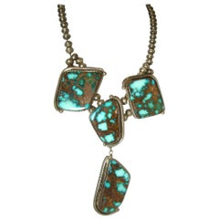 Vintage Signed Albert Jake Sterling Rare Indian Morenci Turquoise Necklace