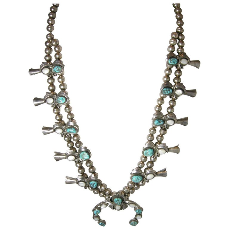 Vintage Sterling Navajo Turquoise and Mother-Of-Pearl Squash Necklace