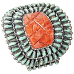 Vintage Sterling Zuni Joe Written Turquoise Needlepoint with Carved Coral Cuff