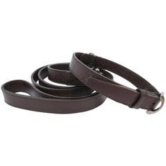 Gucci Dog Dark Brown GG Leather Silver Pet Two Piece Leash and Collar Gift Set