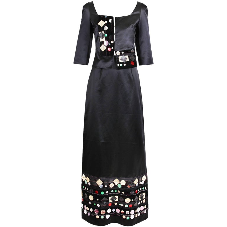 Christian Lacroix Black Satin Cropped Top and Metallic Embellished Maxi Skirt
