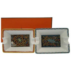 Hermes Like New Porcelain Turtles Two Piece Cigar Trays Ashtrays Gift Set in Box