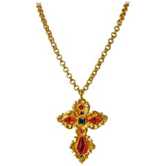 Christian Lacroix Vintage  Extra Large Baroque Jeweled Cross Necklace Pendant