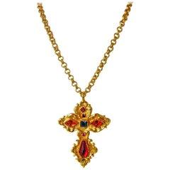 Christian Lacroix Vintage  Extra Large Baroque Jeweled Cross Necklace Pendant