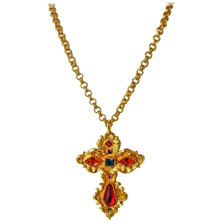 Christian Lacroix Vintage  Extra Large Baroque Jeweled Cross Necklace Pendant 1