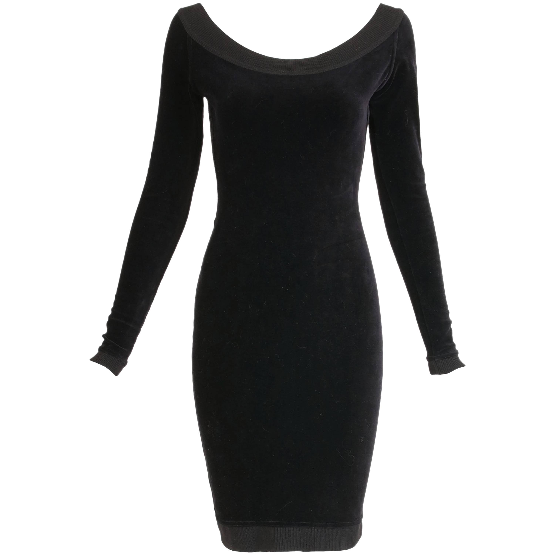 Alaia Black Stretch Velvet Bodycon Mini Dress w/Open Back
