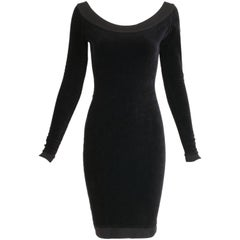 Alaia Black Stretch Velvet Bodycon Mini Dress w/Open Back