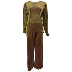 Joan Vass Iridescent Velvet Top and Pants Set