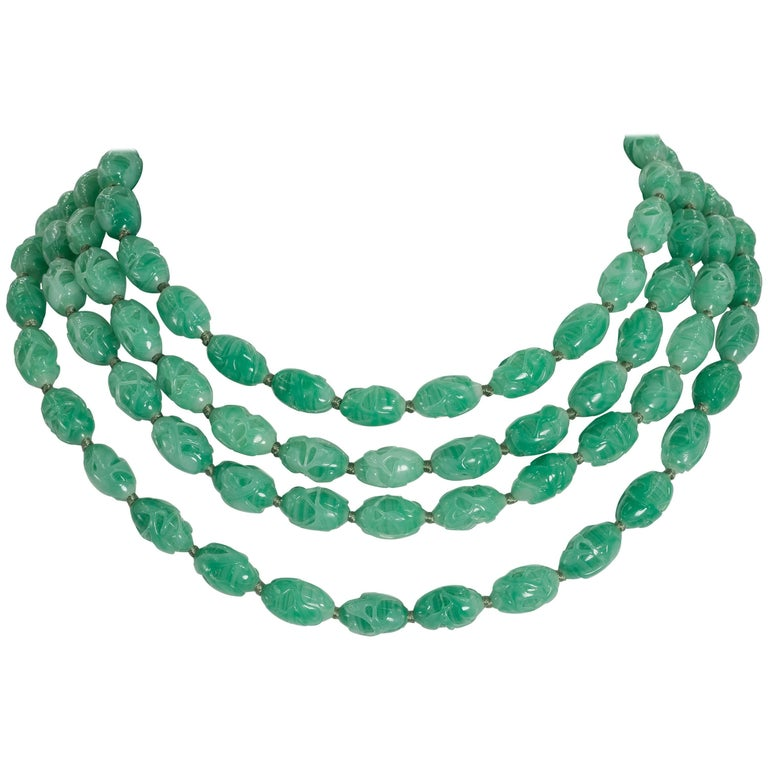 Art Deco Style Five Strand Carved Jade Bead  Costume Jewelry Necklace For Sale