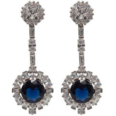 Art Deco Style  Diamond Sapphire Costume Jewelry Earrings