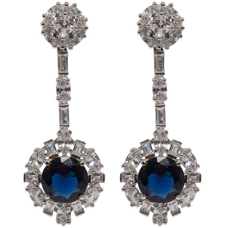 Art deco style diamond sapphire costume jewelry earrings for Art deco costume jewelry