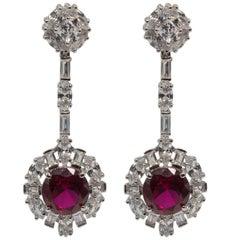 Art Deco Style   Diamond Ruby Costume Jewelry Earrings