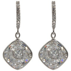Edwardian Style  Cushion Diamond Costume Jewelry  Earrings