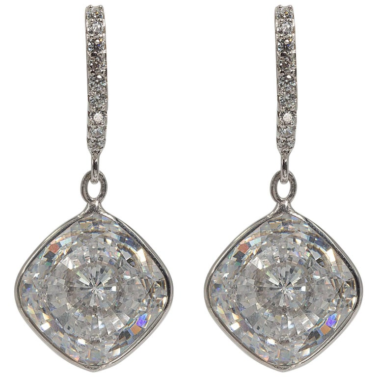 Edwardian Style Cushion Diamond Costume Jewelry Earrings For