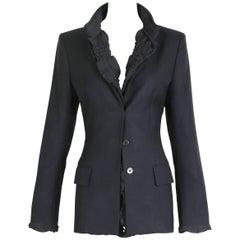 2001 A/H Yves Saint Laurent by Tom Ford Black Jacket with Ruffled Trim