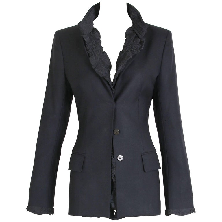 2001 A/H Yves Saint Laurent by Tom Ford Black Jacket with Ruffled Trim For Sale