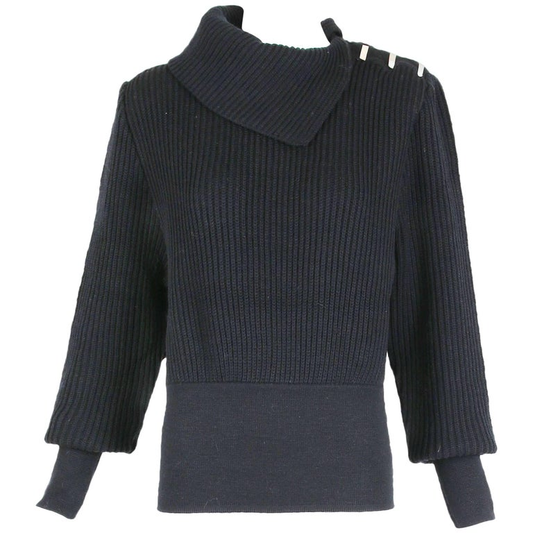 Azzedine Alaia Black Wool Knit Pullover Sweater w/Asymmetric Collar