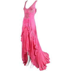 Temperley London Pink Silk Chiffon Trained Evening Gown w/Beading & Embroidery