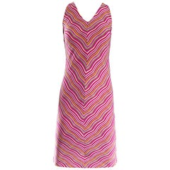1990s Krizia Candy Stripe Op - Art Pink Squiggle 90s Vintage Silk Shift Dress