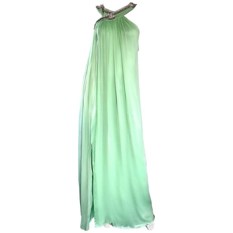New Christian Dior John Galliano Light Green Silk Chiffon Grecian Gown, Sz 10   For Sale
