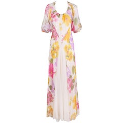 1970's Stavropoulos Bias Cut Silk Chiffon Floral Evening Gown