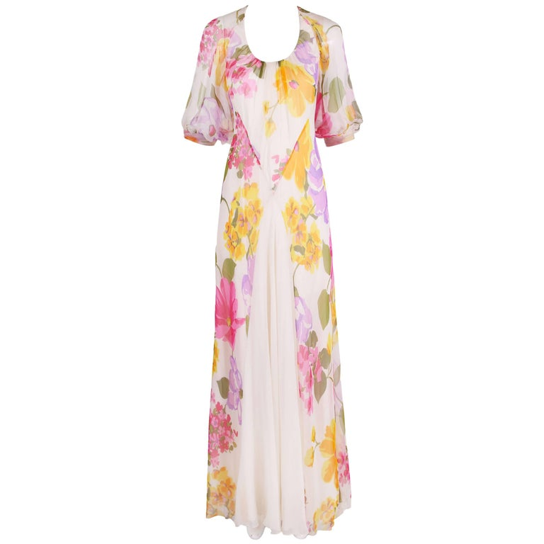 1970's Stavropoulos Bias Cut Silk Chiffon Floral Evening Gown For Sale