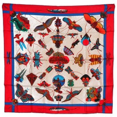 Amazing Hermes Butterfly Silk Scarf