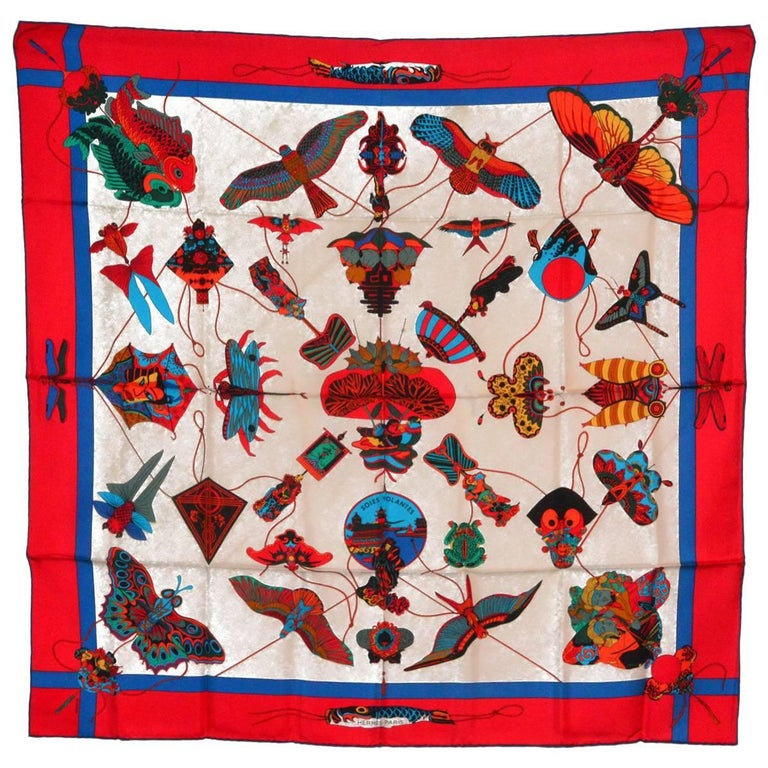Amazing Hermes Butterfly Silk Scarf For Sale