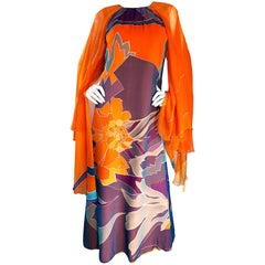 1970s Hanae Mori Couture Bright Orange Silk Chiffon Vintage Caftan Maxi Dress