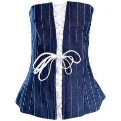 New Dolce & Gabbana Size 46 US 10 Blue Jean Denim Strapless Bustier Corset Top
