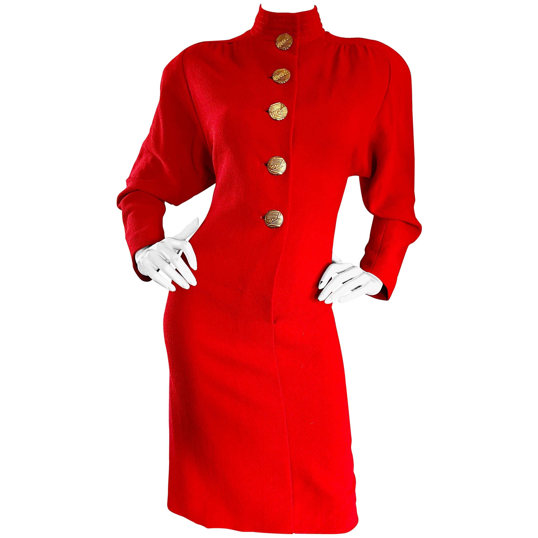 Beautiful Vintage Galanos Lipstick Red Avant Garde 1980s Wool Size 8 10 Dress