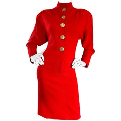 Beautiful Vintage Galanos Lipstick Red Avant Garde 1980s Wool Size 8 10 Dress