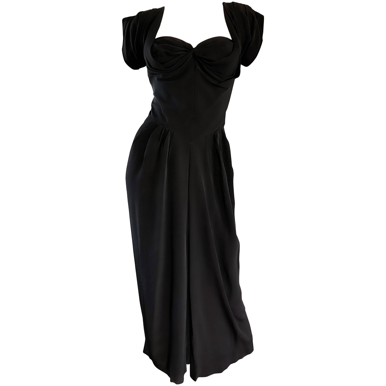 1950s Dorothy O'Hara Black Crepe Cap Sleeve Sweetheart Neck Vintage 50s Dress