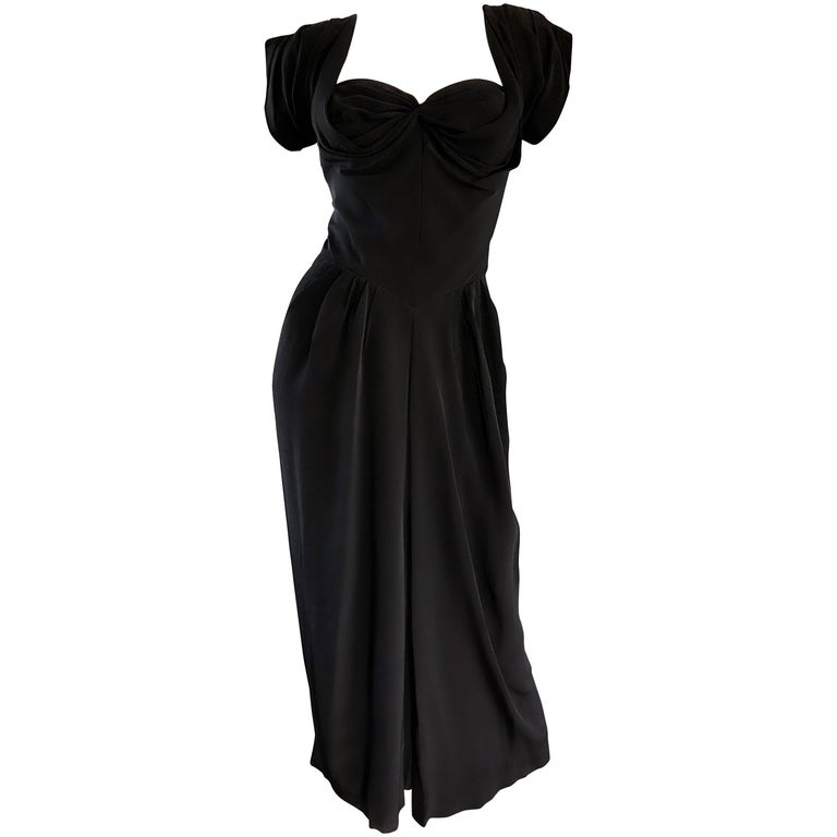 1950s Dorothy O'Hara Black Crepe Cap Sleeve Sweetheart Neck Vintage 50s Dress For Sale