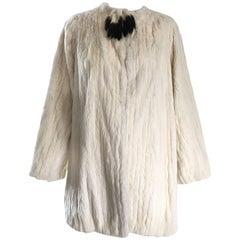 Rare 1930 Ermine Winter White Luxurious Fur Jacket Coat w/ Tail Collar Detail