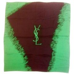 Yves Saint Laurent Emerald & Ebony Silk Scarf c 1980s