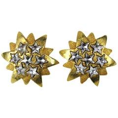 1980's Dominique Aurientis Gold Gilt Star Massive Earrings New, Never worn